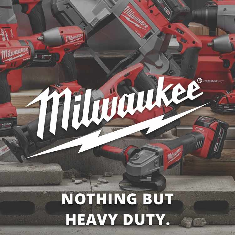 Milwaukee Power Tools with logo with tagline Nothing But Heavy Duty